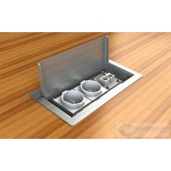 Floorbox 3303-EnwPL , metalowa, 2 gniazda zasilające +2xRJ45 Cat.6