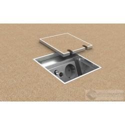 Puszka podłogowa 1x230V i 2xRJ45, do wykładziny wykonana z odlewu aluminiowego.