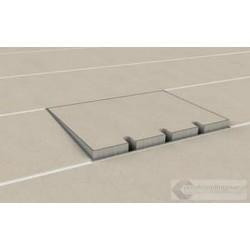 Puszka podłogowa ze stali nierdzewnej na 4 gniazda, parkiet/panele/deska/gres/terakota, do betonu.