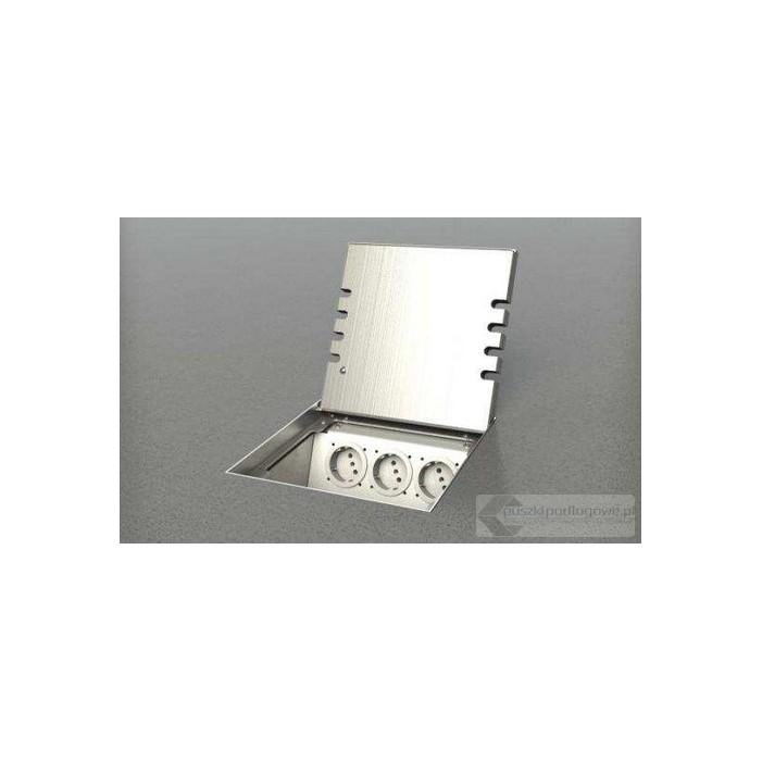 Puszka podłogowa 8906-BPL, poziomowana, 6 gniazd zasilających nierdzewka