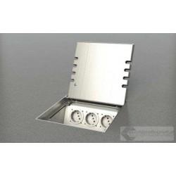 Puszka podłogowa ze stali nierdzewnej 6x230V 4xRJ45, parkiet/panele/deska/gres/terakota, do betonu.