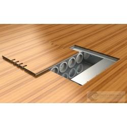 Puszka podłogowa ukryta 6x230V i 4xRJ45, odlew aluminiowy z możliwością maskowania.