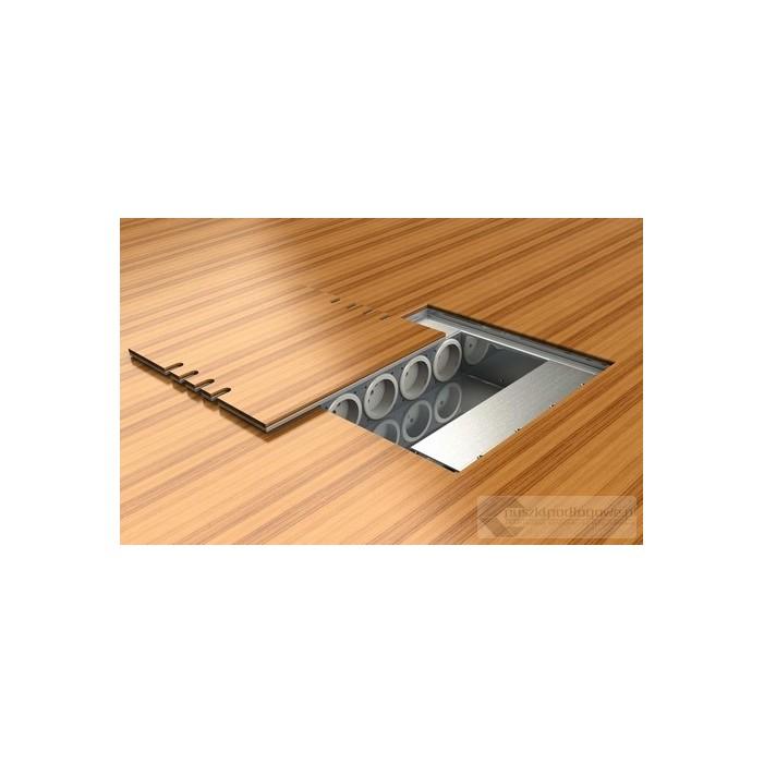 Puszka podłogowa 8808-BnwPL, do wyklejenia pokrywy, 4 gniazda zasilające +4x2RJ45 Cat 6.