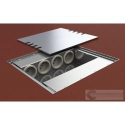 Floorbox 8x230V z wiekiem ze stali nierdzewnej INOX. Obudowa z odlewu aluminiowego.