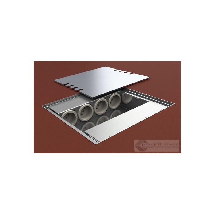 Puszka podłogowa 8808-EnwPL, z pokrywą ze stali nierdzewnej, 4 gniazda zasilające +4x2RJ45 Cat 6.