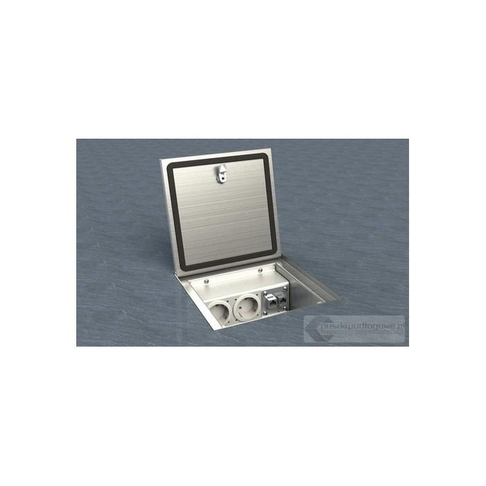 Floorbox 2003-APL, ze stali nierdzewnej, 3 gniazda zasilające.