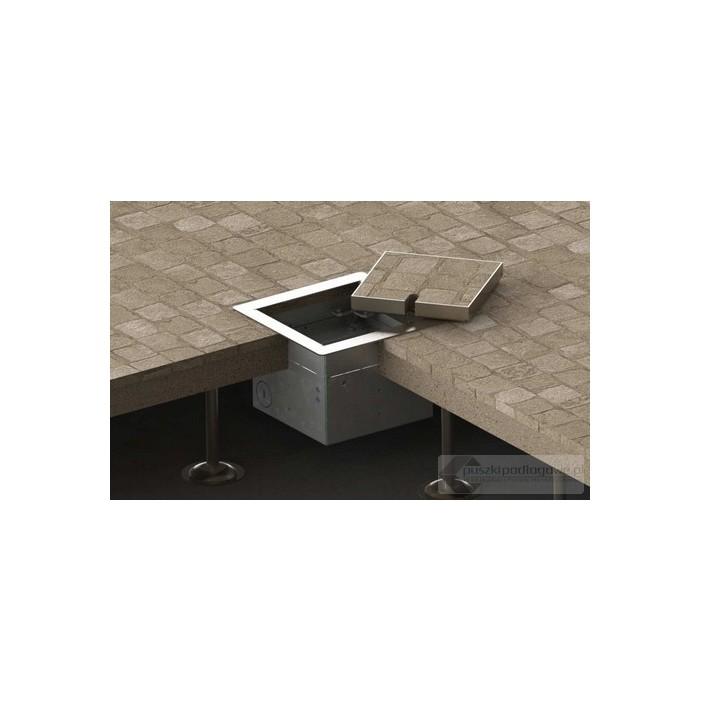 Floorbox 8501-BPL z ramką dociskową, 1 gniazdo zasilające, nierdzewka