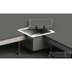 Floorbox 8502-BPL z ramką dociskową, 2 gniazda zasilające, nierdzewka