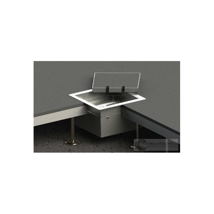 Floorbox 8502-BnwPL-1 z ramką dociskową, 1 gniazdo zasilające +1x gniazdo antenowe, nierdzewka