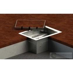 Floorbox 8503-BnwPL z ramką dociskową, 2 gniazdo zasilające +2xRJ45 Cat 6, nierdzewka