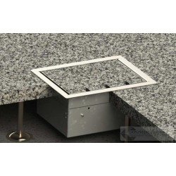 Floorbox 8504-BPL z ramką dociskową, 4 gniazda zasilające, nierdzewka