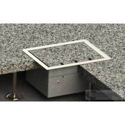 Floorbox z ramką dociskową 3x230V 2xRJ45 do deski lub parkietu