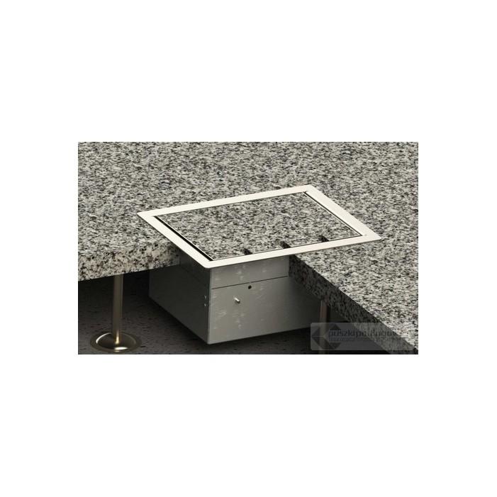 Floorbox 8504-Bnw1PL z ramką dociskową, 2 gniazdo zasilające +2xRJ45 Cat.6 +1x gniazdo antenowe, nierdzewka
