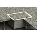 Floorbox z ramką dociskową 2x 230V 2xRJ45 1xRTV SAT do deski lub parkietu