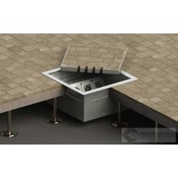 Floorbox 8506-BnwPL z ramką dociskową, 4 gniazda zasilające +2x2RJ45 Cat 6, nierdzewka
