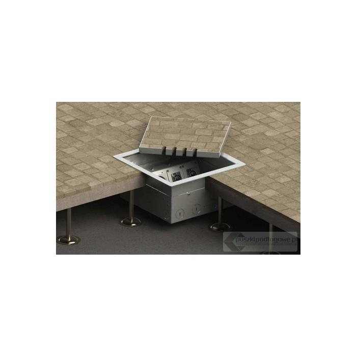 Floorbox 8506-Bnw1PL z ramką dociskową, 4 gniazda zasilające +1x2RJ45 Cat 6, 1x gniazdo antenowe, nierdzewka