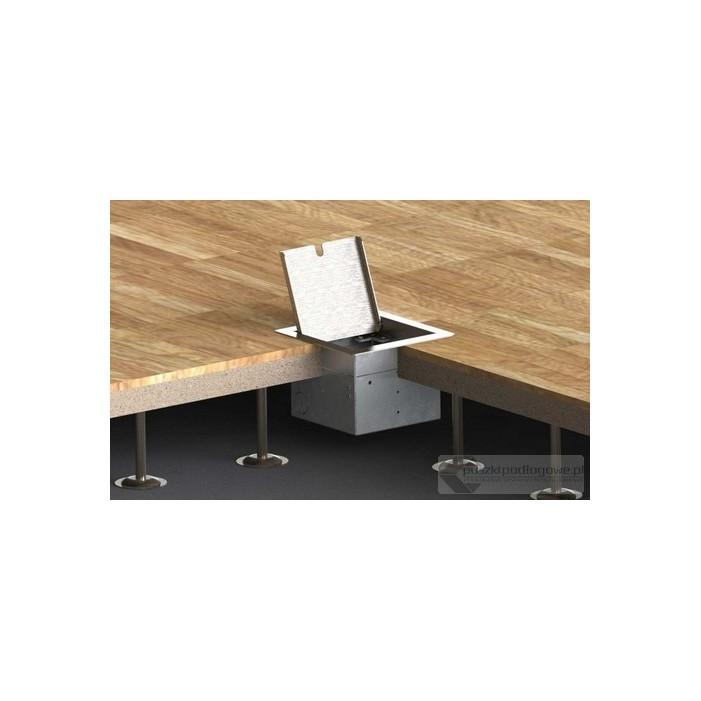Floorbox 8501-EnwPL z ramką dociskową, 2xRJ45 Cat 6, nierdzewka