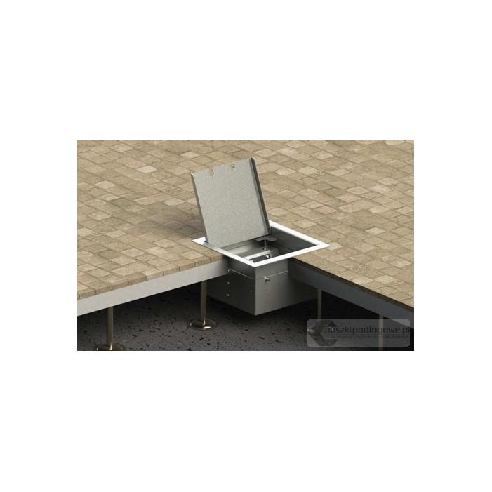 Floorbox 8502-EnwPL z ramką dociskową, 1 gniazdo zasilające +2xRJ45 Cat 6, nierdzewka