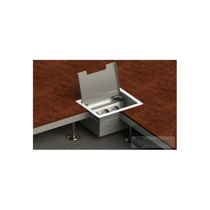 Floorbox 8503-EPL z ramką dociskową, 3 gniazda zasilające, nierdzewka