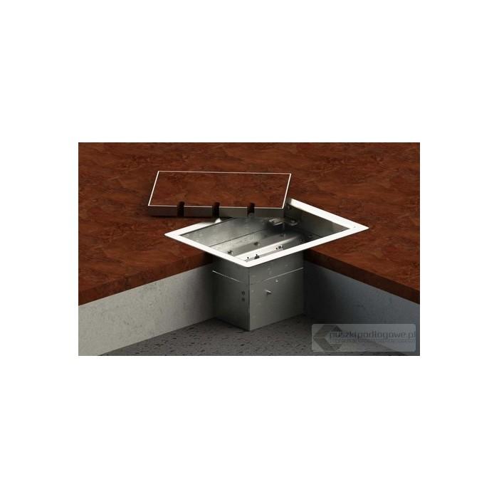 Floorbox 8503-Enw1PL z ramką dociskową, 2 gniazdo zasilające +1x gniazdo antenowe, nierdzewka