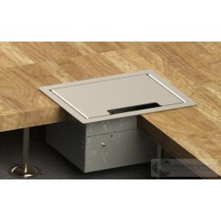Puszka podłogowa z ramką dociskową 3x230V 2xRJ45 ze stalowym wiekiem INOX