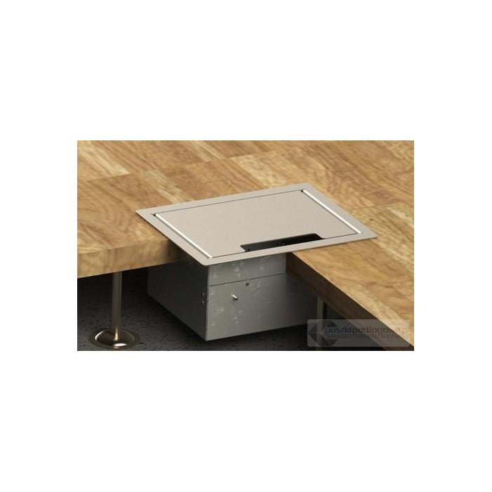 Floorbox 8504-Enw1PL z ramką dociskową, 2 gniazdo zasilające +2xRJ45 Cat.6 +1x gniazdo antenowe , nierdzewka
