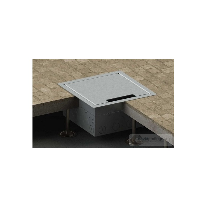 Floorbox 8506-EnwPL z ramką dociskową, 4 gniazda zasilające +2x2RJ45 Cat 6, nierdzewka