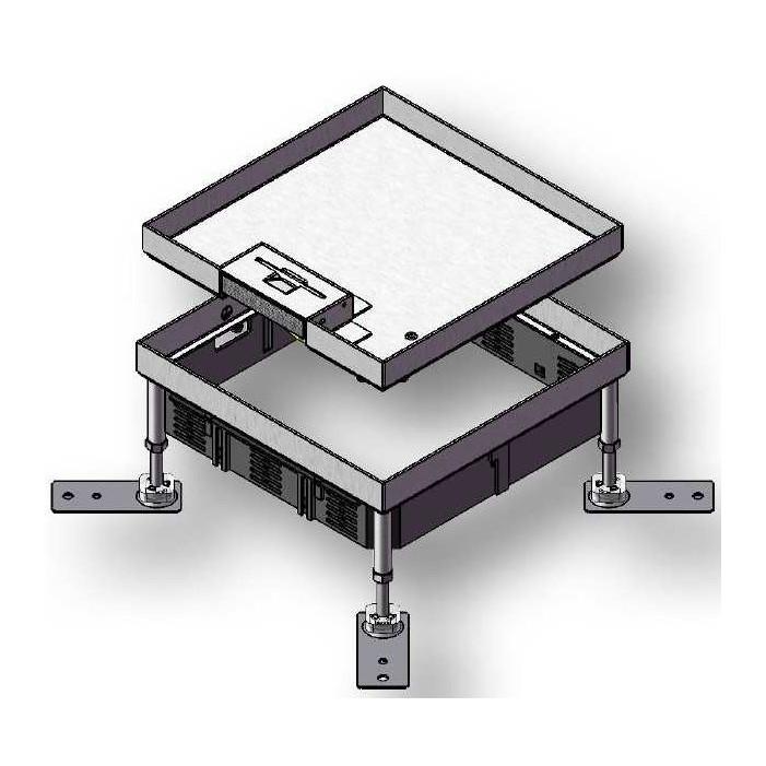 Puszka podłogowa z kasetą z blachy nierdzewnej HBKK Q12 do podłogi betonowej