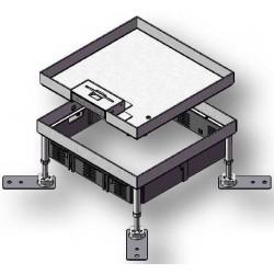 Zestaw puszki podłogowej poziomowanej z kasetą z blachy nierdzewnej HBKK Q12 do podłogi technicznej