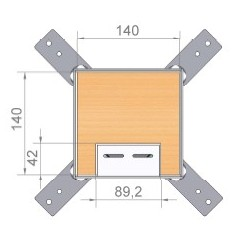 Puszka podłogowa na 2 gniazda M45, parkiet/panele/gres, podłoga podniesiona.