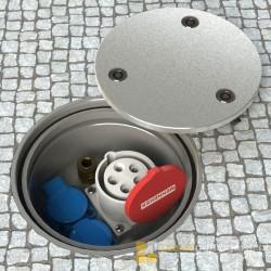 Floorbox 7012-APL, aluminiowa, zawierająca 2 gniazda z bolcem 230V oraz 1 gniazdo siłowe CEE