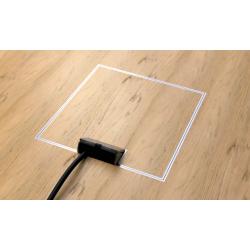 Cube - Puszka podłogowa ze stali nierdzewnej na 2 gniazda, przepust kablowy