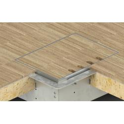 Floorbox ze stali nierdzewnej na 4 gniazda, parkiet/panele/deska/gres/terakota, do podłogi pustej.