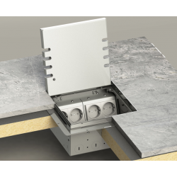 Floorbox ze stali nierdzewnej na 8 gniazda, parkiet/panele/deska/gres/terakota, do podłogi pustej.
